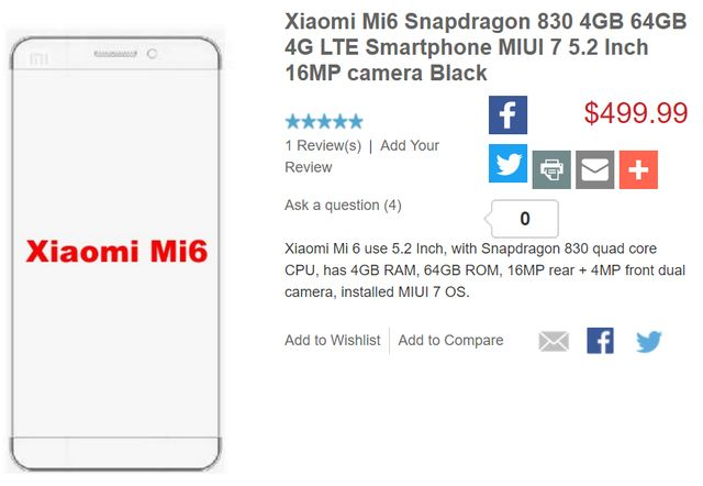 Xiaomi Mi6: specifications and price published on Xiaomi Store